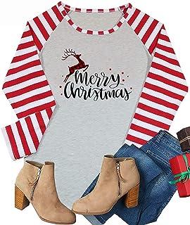 HRIUYI Women Merry Christmas Shirts Funny Long Sleeve Christmas Holiday Raglan Baseball Blouse Tops Tees