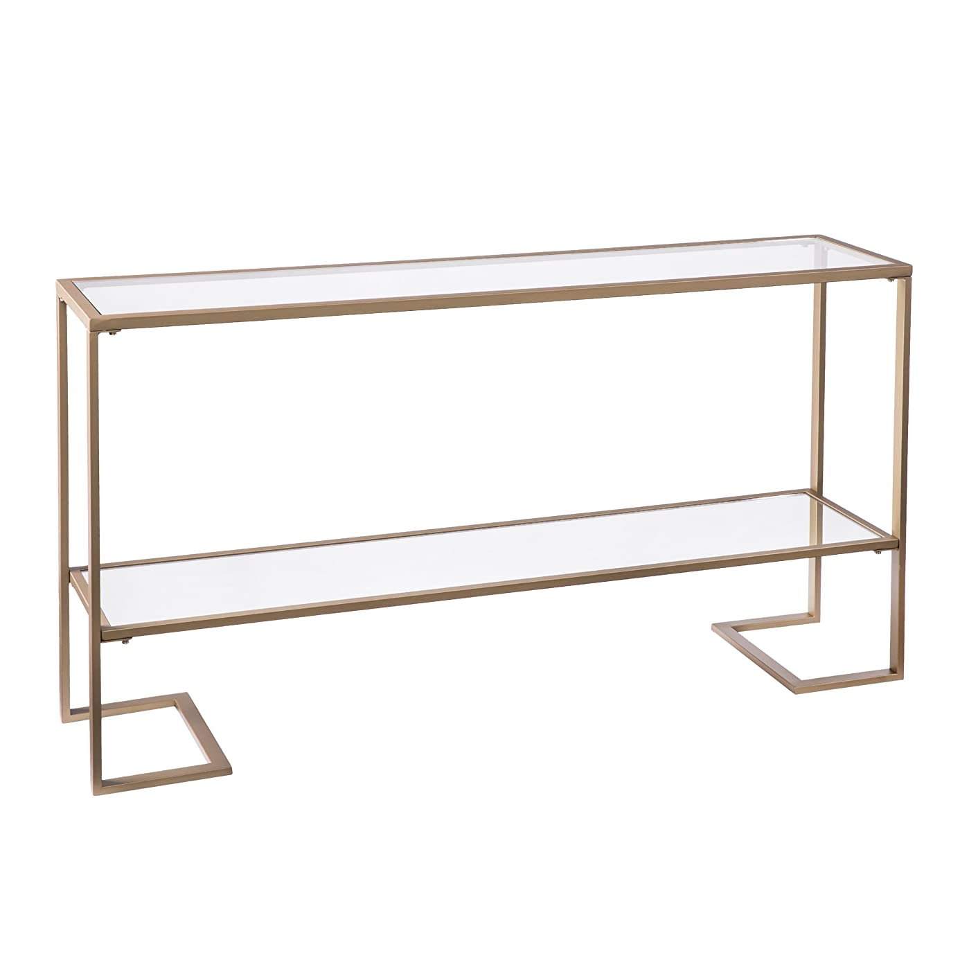 Furniture HotSpot - Metal Skinny Console Table (52x29) - Slim Profile w/Mirror Top