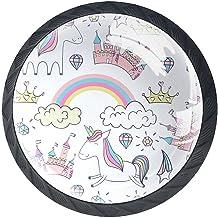 Ladeknoppen Ronde Kristal Glazen Kabinet Handgrepen Pull 4 Pcs,Eenhoorn Regenboog hete lucht Ballon