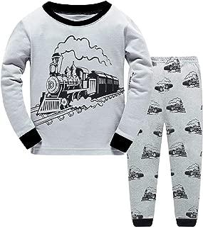 Toddler Boys Pajamas Train 100% Cotton Fire Truck Pjs Kids Airplane Glow in The Dark Sleepwear