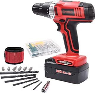 Cordless Drill, WORKSITE CD312-18N 18-Volt 1200mA Ni-cd Battery Powerful Cordless Electric Drill Built-in Light with 13 PCS Accessories Bits Set and Magnet Wristband