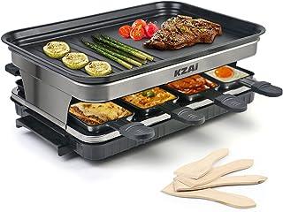Appareil a Raclette 8 Personnes Machine a Raclette avec 8 Mini Coupelle Raclette 4 Spatules, Thermostat Revêtement Antiadh...