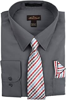 Alberto Danelli Men's Long Sleeve Dress Shirt with Matching Tie and Handkerchie Set