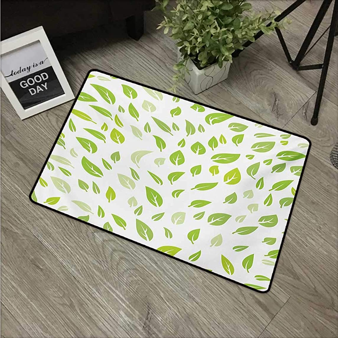Leaf,Carpet Flooring Various Types of Green Fresh Leaves Illustration with Garden Summer Season Graphic Design W 31