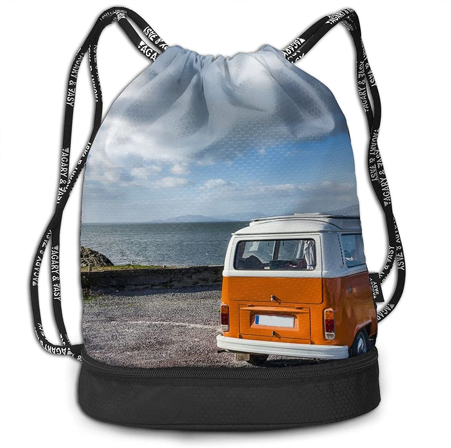 Wild Way Bus Printing Drawstring Backpack Max 52% OFF Limited time trial price Gym Bul Bag