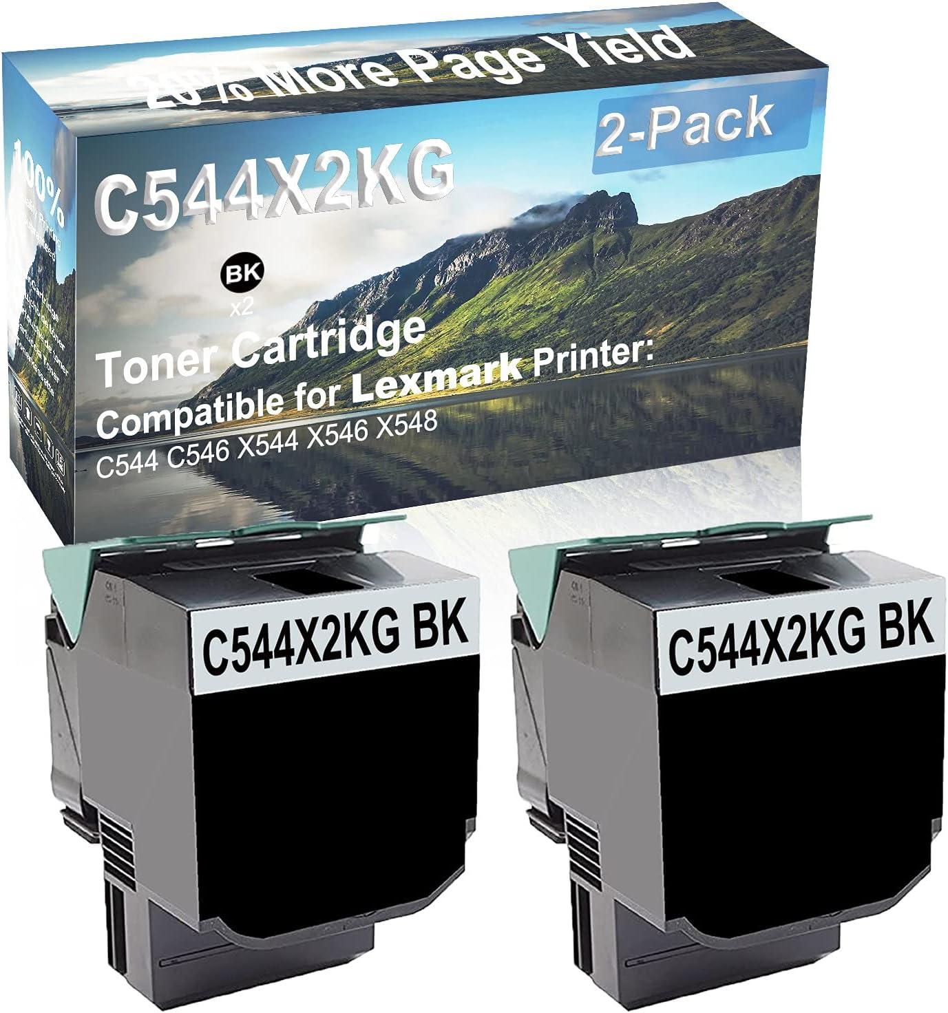 2-Pack (Black) Compatible High Yield C544X2KG Laser Printer Toner Cartridge Used for Lexmark C544 C546 X544 X546 X548 Printer