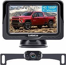 دوربین پشتیبان LeeKooLuu و کیت مانیتور HD 720P نصب آسان برای اتومبیل ها ، کامیون ها ، وانت ها ضد دید در شب دید عقب / دوربین جلوی دوربین یک سیستم قدرت استفاده معکوس / مداوم خطوط شبکه قابل تنظیم