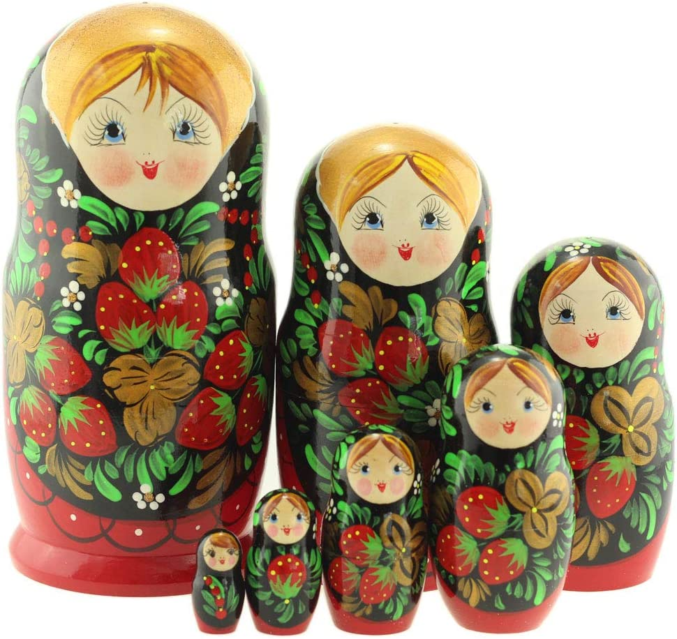 Azhna 7 pcs Souvenir Matryoshka Home Decor Collection Classic Style Nesting Doll Hand Painted Russian Doll 19 cm Wooden Stacking Doll Green