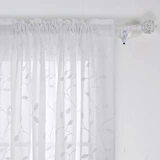 Deconovo Floral Sheer Curtains Embroidered Leaves Pattern Semi Faux Linen Rod Pocket Curtains for Living Room 52x84 Inch White
