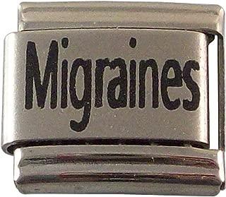 2 Pcs Migraines Medical Alert ID Italian Charms for Bracelet Men or Women Awareness Stainless Steel