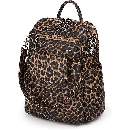 UTO Damen Backpack Purse PU gewaschen Leder Ladies Rucksack Schultertasche Aprikose Leopard