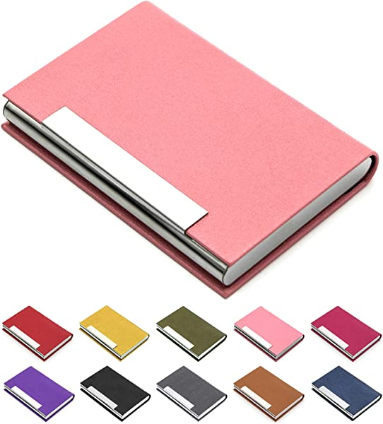 Business Card Holder Business Card Case Luxury PU Leather Stainless Steel Multi Card Case Business Card Holder Wallet Credit Card ID Case Holder For Men Women Pink