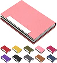 Business Card Holder, Business Card Case Luxury PU Leather & Stainless Steel Multi Card Case,Business Card Holder Wallet Credit Card ID Case/Holder for Men & Women. (Pink)