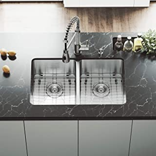 VIGO VG2918K1 29 Inch Undermount 16 Gauge Double Bowl Stainless Steel Commercial Grade Kitchen Sink with Two Grids and Strainers, Rounded Corners and SoundAbsorb Technology