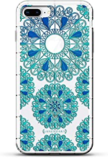 ORNAMENT: TURQUOISE & BLUE MANDALAS WITH APPLE LOGO CIRCLE | Luxendary Air Series Clear Silicone Case with 3D Printed Design and Air-Pocket Cushion Bumper for iPhone 8/7 Plus