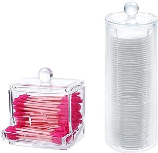 PuTwo Q-Tips Lot de 2 Supports pour Cotons-tiges, distributeurs de Boules de Coton pour Salle de Bain, Pots pour Boules de...