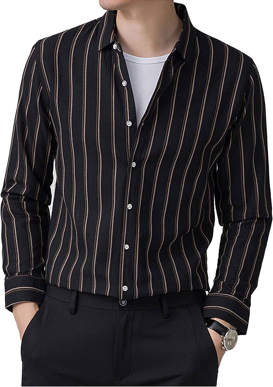 Men's Stripe Long-Sleeved Shirt Cotton and Linen Light Business Casual Button Up Shirt Top