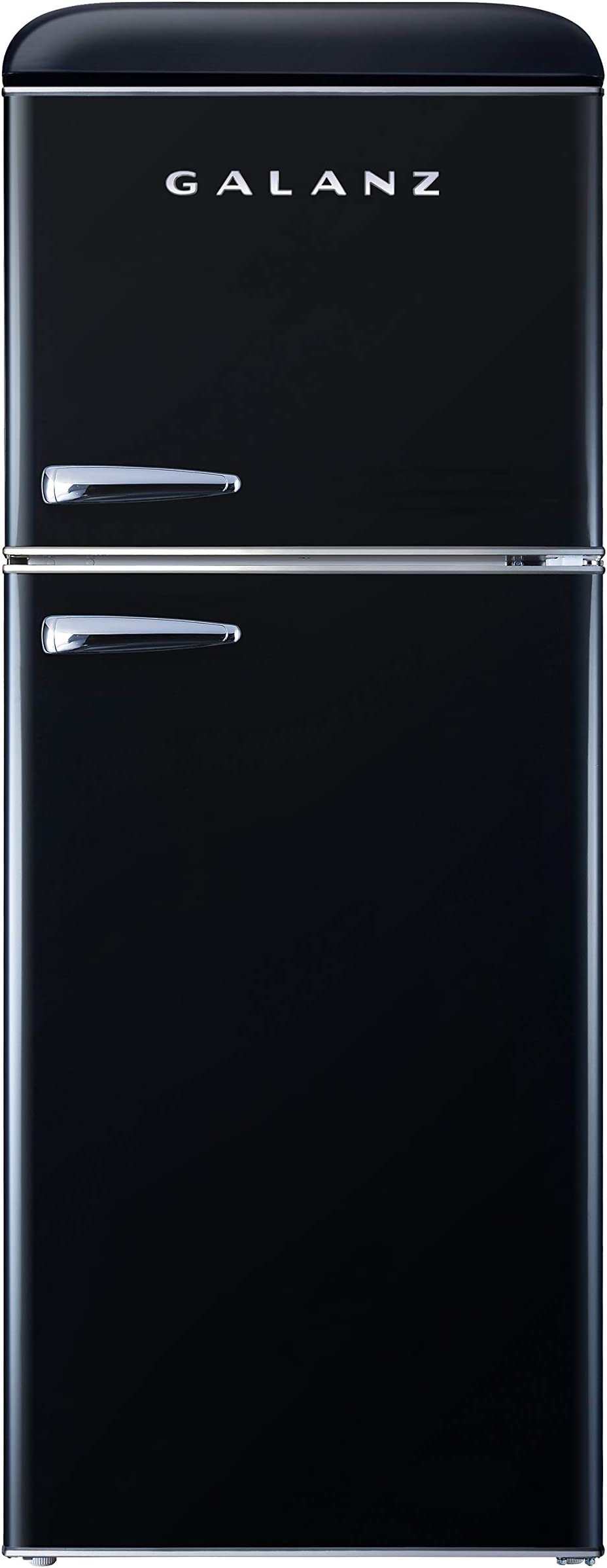 Galanz GLR46TBKER Retro Compact Refrigerator, 4.6 Cu.Ft Mini Fridge with Dual Door, Adjustable Mechanical Thermostat with True Freezer, Black