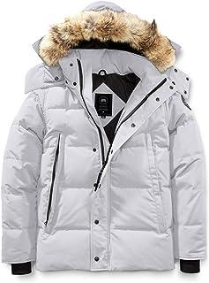 [カナダグース] CANADA GOOSE Men`s Wyndham Slim Fit Genuine Coyote Fur Trim Down Jacket Black Label メンズパーカー [Silverbirch] [並行輸入品]