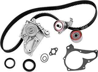 Timing Belt Kit including timing Belt water pump with gasket tensioner bearing etc,OCPTY Compatible for 90 91 92 93 94 95 ...