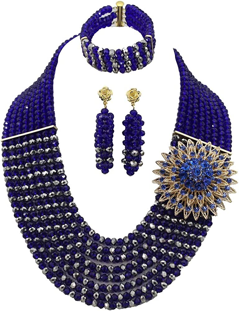 Africanbeads 8Rows Royal Blue Crystal Beads Necklace,Crystal Jewelry Set,Wedding Gift,Bridesmaid Necklace