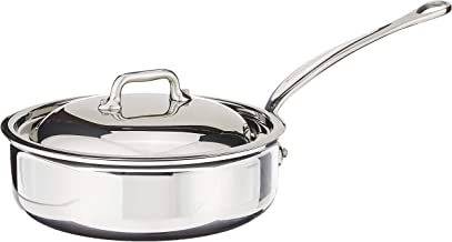Mauviel Made In France M'Cook 5 Ply Stainless Steel 1.9 Quart Saute Pan with Lid, Cast Stainless Steel Handle
