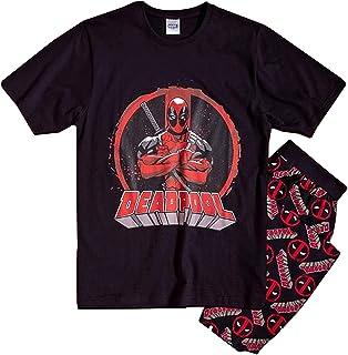 Mens Official Licensed Deadpool Pyjamas | Mens Marvel Superhero Pj Set Small - X-Large