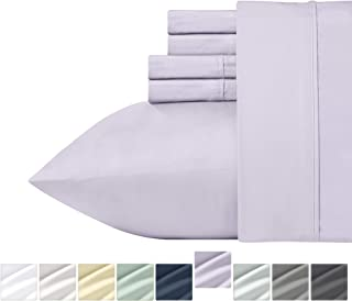 Lavender Queen Sateen Bed Sheets - 100% Pure Cotton 400 Thread Count, Solid Color 6 Piece Soft Sheet Set, Comfortable Wrinkle Resistant Bedding, Deep Pocket Fits Mattress Upto 18 Inches