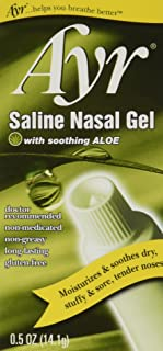 Ayr Saline Nasal Gel, with Soothing Aloe, 0.5 Ounce Tube (Pack of 3)