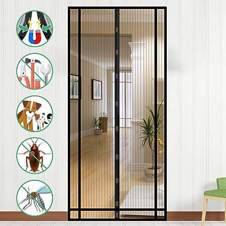 Moskitonetz Magnetverschluss Fliegenvorhang H/äNde Frei Schwarz 70x215cm Full Frame Balkont/ür Terrassent/ür WISKEO Fliegengitter T/ür Ohne Bohren Magnet Insektenschutz