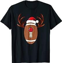 Football Reindeer Antlers Christmas Funny T-Shirt
