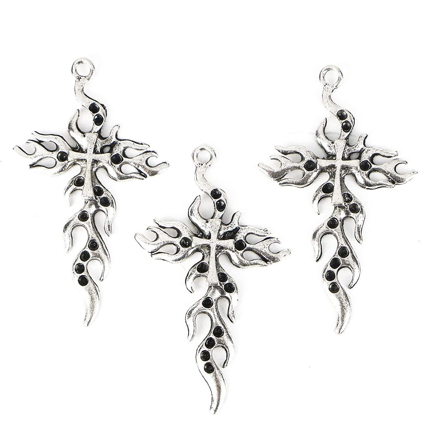 Monrocco 20Pcs Vintage Tibetan Silver Cross Flames fire Charms Pendant Jewelry Findings for Jewelry Making Necklace Bracelet DIY