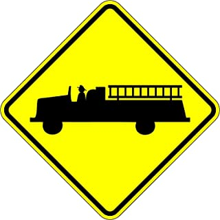 Fire Truck Crossing Sign - 18 x 18 Warning Sign. A Real Sign. 10 Year 3M Warranty
