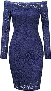 HiQueen Women's Off Shoulder Sexy Lace Long Sleeve Dress