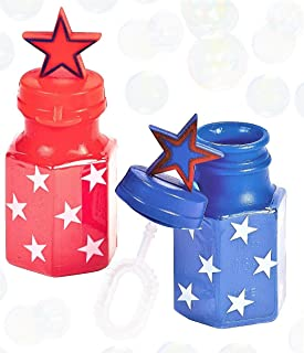 Patriotic Stars Mini Bubble Bottles for Kids 2pc Set - Red & Blue - Party Favors, Memorial Day, Veterans Day, 4th of July, Independence Day, & Flag Day Fun Toys - Bundle of 2