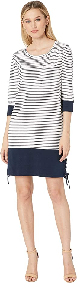 3/4 Sleeve Yarn-Dye Stripe Dress