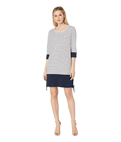 Tribal 3/4 Sleeve Yarn-Dye Stripe Dress (Ink) Women