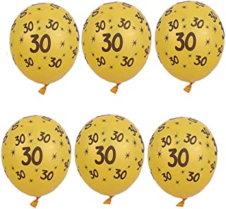 PROPARTY 12 Inch Gold Latex Number 30 30th Birthday Anniversary Balloons for Birthday Anniversary Party Decorations 10 PCS