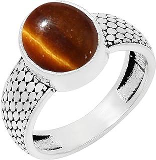 Tiger Eye Silver Ring Gemstone Top Grade Fine Handmade Sterling 925 Diff Sizes