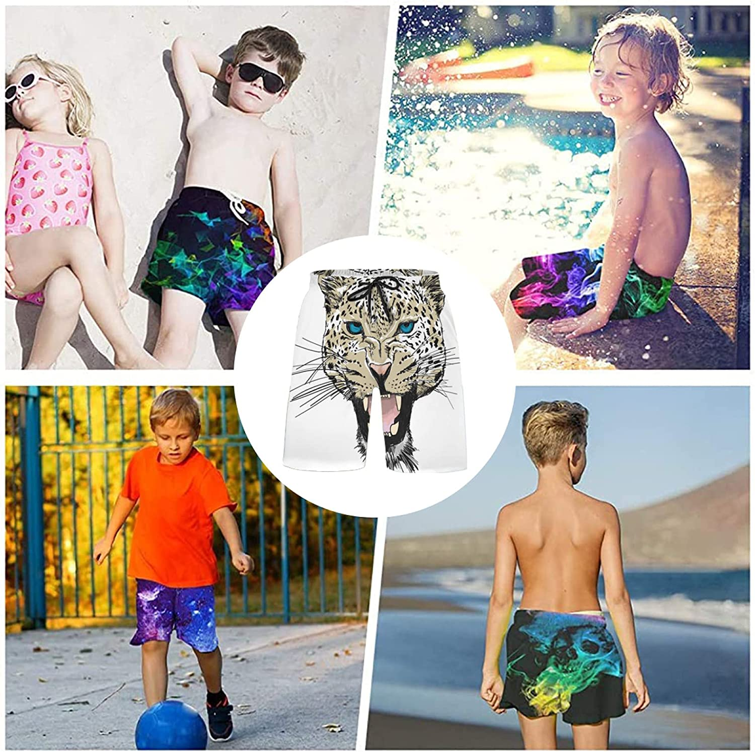 Cool Leopard Head Bathing Suits Athletic Tennis Shorts Swim Trunks for Kids Boys Tee