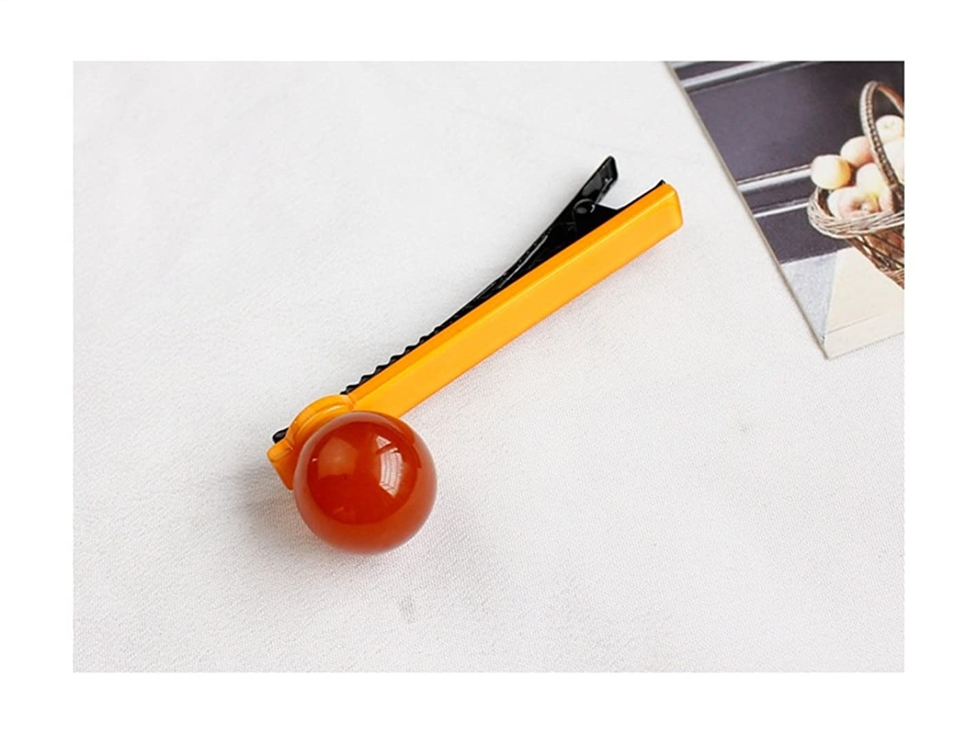 抑圧奇妙な約束するOsize 美しいスタイル ラウンドボールキャンディーカラーバングヘアピンダックビルクリップサイドクリップ(レッド+オレンジ)