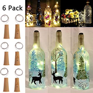 3 Dimmable Modes Intelligent Wine Bottle Lights with Cork, 6Pack Battery Operated 10 LED Silver Copper Wire Fairy String Lights for DIY, Party, Decor, Christmas, Halloween (Warmweiß6)