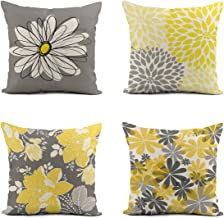 Rurpali Set of 4 Linen Throw Pillow Cover 18x18 Inch Gray Yellow Modern Daisy Floral Home Decor Pillowcase Square Cushion ...