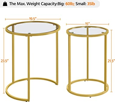 YAHEETECH Round Nesting Side Table Stacking Coffee Table, Set of 2 Circular Modern End Tables w/Metal Frame & Tempered Gl
