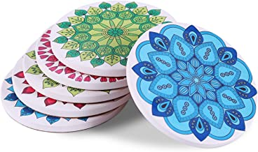 Coasters for Drinks 6-Piece Absorbent Stone Coaster Set for Drink - Colorful Mandala Styledrink spills coasters