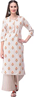 Pistaa's women's Cotton Flex Gold Printed A-Line Salwar Suit Set