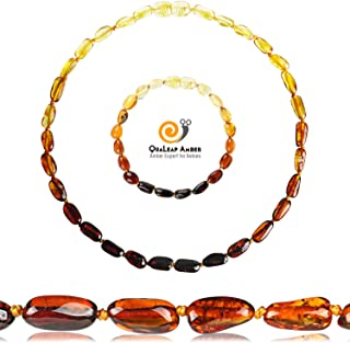 Baltic Amber Teething Necklace and Bracelet Set for Baby (Unisex - Rainbow - 12.5 Inches / 5.5 Inches) - 100% Authentic Amber Necklace and Amber Teething Anklet for Infant & Toddler