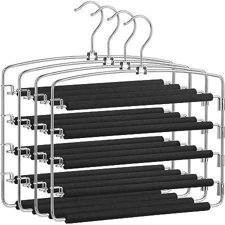 SONGMICS Pants Hangers Space Saving, 5 Layer Pants Hangers, Set of 4 Multiple Pant Hanger, Pants Organizer Hanger, Swing Arm Pants Hangers with Non-Slip Padding, Silver and Black UCRI041B03