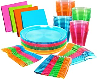 """Glow Neon Party Supplies - Serves 32 guests, Hard Plastic & Disposable Neon Plates 9"""", Cups Tumblers 9 Oz, Cutlery - Fork..."""
