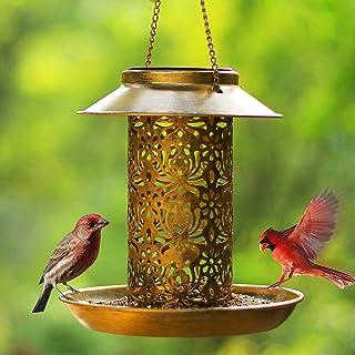 Solar Bird Feeder for Outdoors Hanging,SWEETFULL Metal Wild Bird Feeder for Cardinals Solar Garden Lantern with S Hook as ...